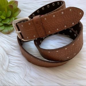 Lucky Brand Brown Leather Rivet Belt